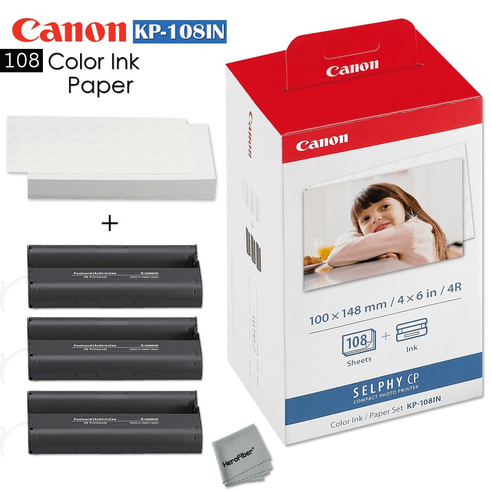 Canon KP-108IN Color Ink Paper includes 108 Ink Paper sheets + Ink toners for Canon Selphy CP1200, Selphy CP910, Selphy CP900, cp770 and cp760 + Ultra fine HeroFiber cleaning Cloth