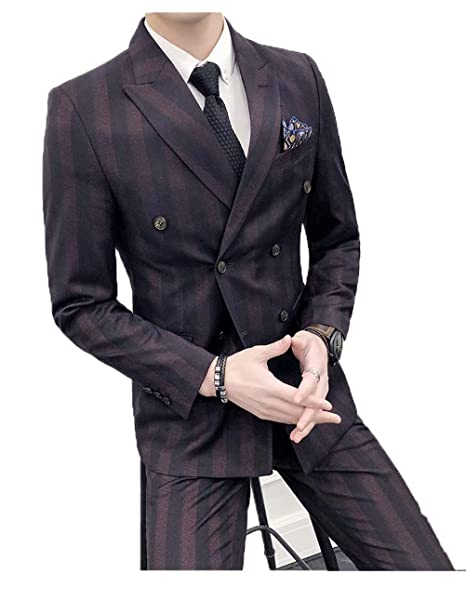 drop shipping kid volume large High-End Suits Double Breasted Pinstripes Suit Men Black 3 ...