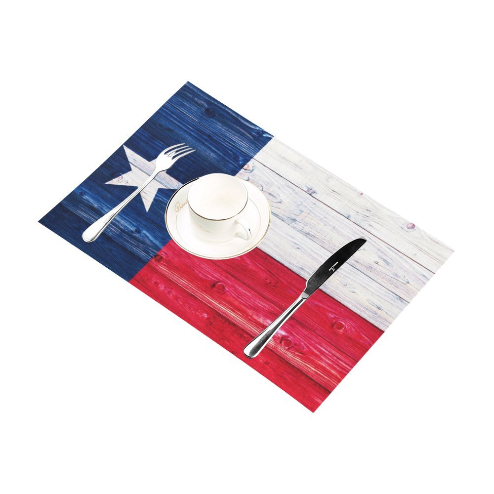 InterestPrint American State Flag Wood Texas Flag Washable Fabric Placemats Set of 6 Heat Insulation Dining Table Mats Non-slip Washable Place Mats, 12 x 18 Inches by InterestPrint (Image #3)