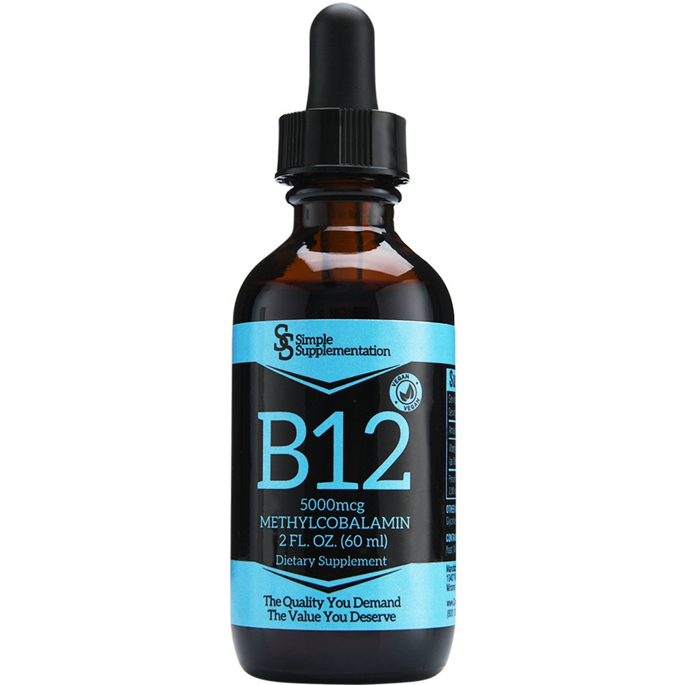Top Quality Vitamin B12 Drops for Less - Compare - A Full 60 Servings x 5000mcg - Sublingual Methylcobalamin Liquid - Vegan - Organic - Alcohol-Free - Boost Energy & Metabolism - Feel Your Best - USA by Simple Supplementation