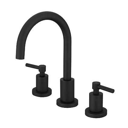 Fantastic Matte Black Bathroom Faucet Basin Sink Brass Faucet Fixtures 3 Holes Two Handles Mixer Tap Download Free Architecture Designs Ferenbritishbridgeorg