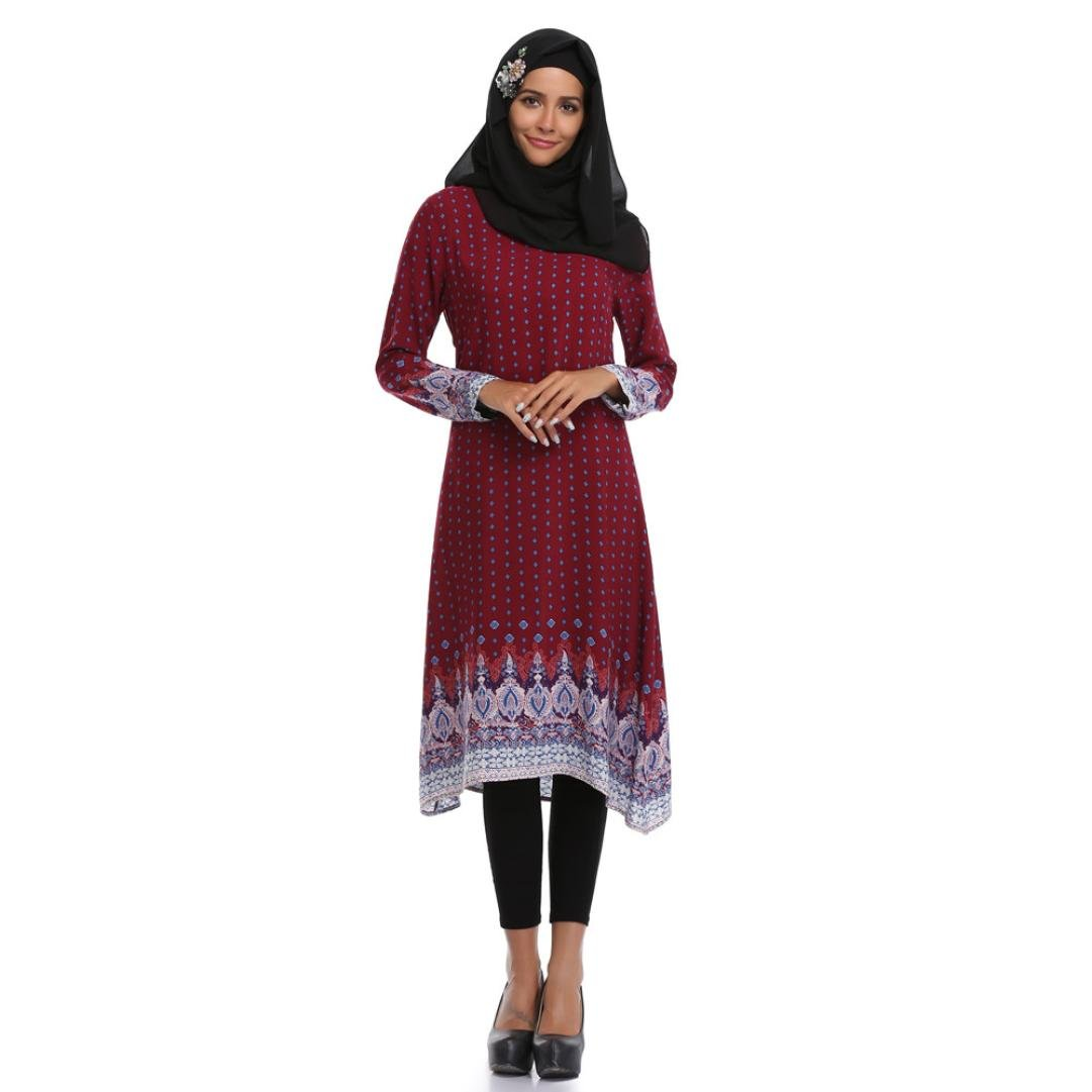 Amazon.com  UOKNICE Muslim Women Plus Size Islamic Printing Long Sleeves  Middle East Dress  Clothing 5d229214cd24