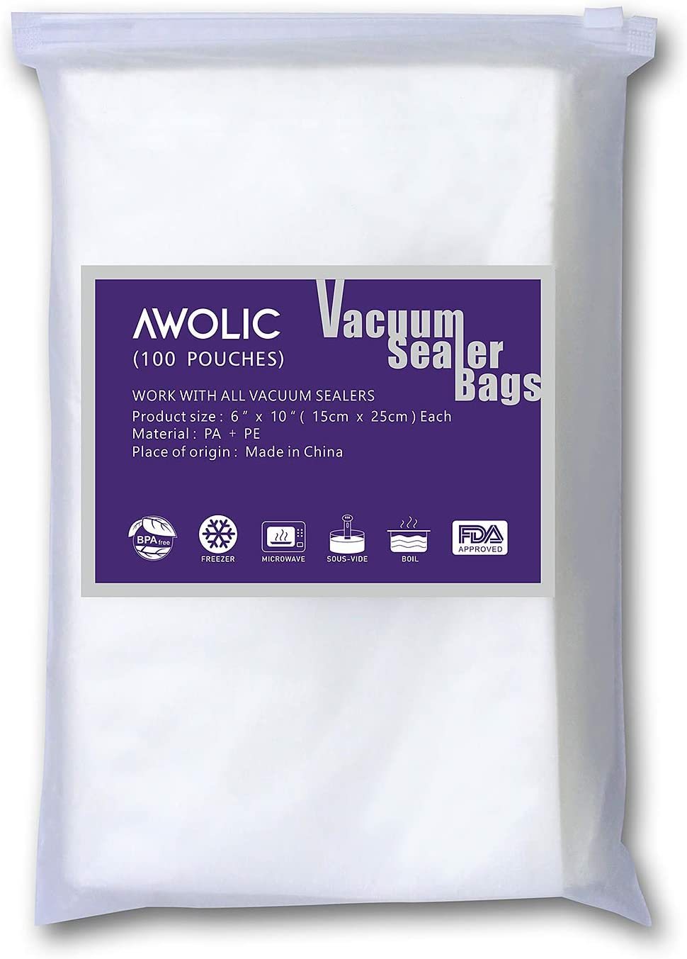 """AWOLIC Vacuum Sealer Bags,100 Pint Size 6""""x10"""",BPA Free,Commercial Grade,Heavy Duty,Sous Vide, Food Saver Bags Work with All Clamp External Vacuum System."""
