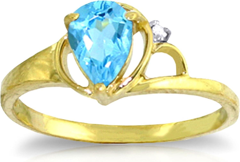 ALARRI 0.66 Carat 14K Solid Gold Unwritten Novel Blue Topaz Diamond Ring