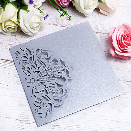 Embossed Graphics Invitations - PONATIA 20 PCS Laser Cut 3 Folds Invitation Cards for Wedding Invitations Birthday Engagement Greeting Invitations Cards Use+ Free Envelopes+ Free RSVP Cards (Slivery Grey)