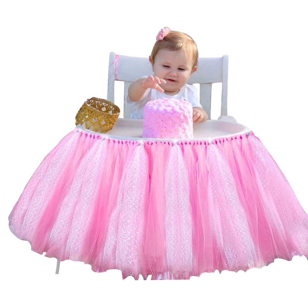 Lansian Tulle Tutu Table Skirt for 1st Birthday Girl High Chair Decorations Pink and Silver for Party, Wedding and Home Decoration (Pink&Silver, 39'' Length x 15.7'' Height)