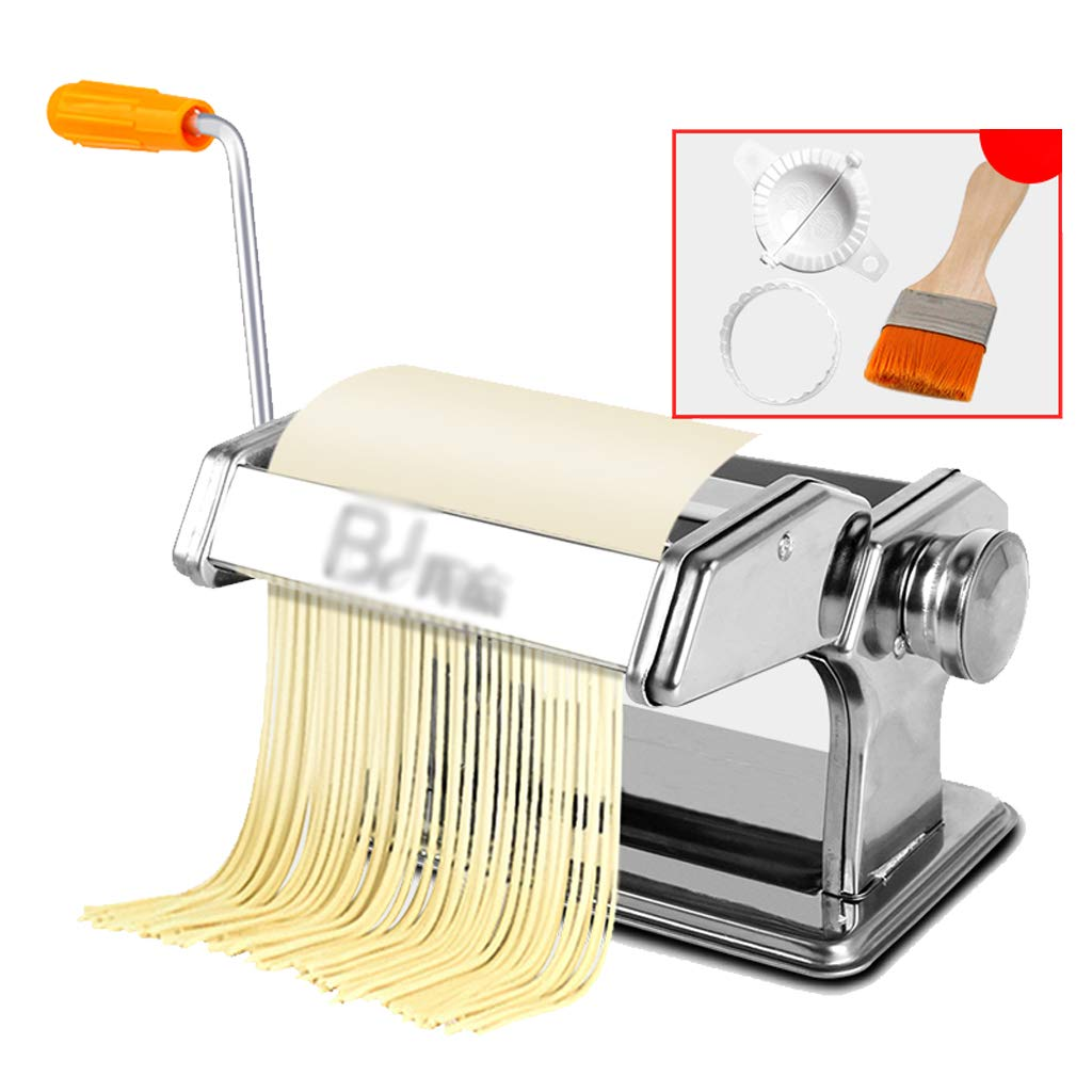 Detachable multi-function household stainless steel pasta machine,Italian Double Cutter Pasta Machine,pasta maker, 2 Blades (Silver) by XCLYMJ