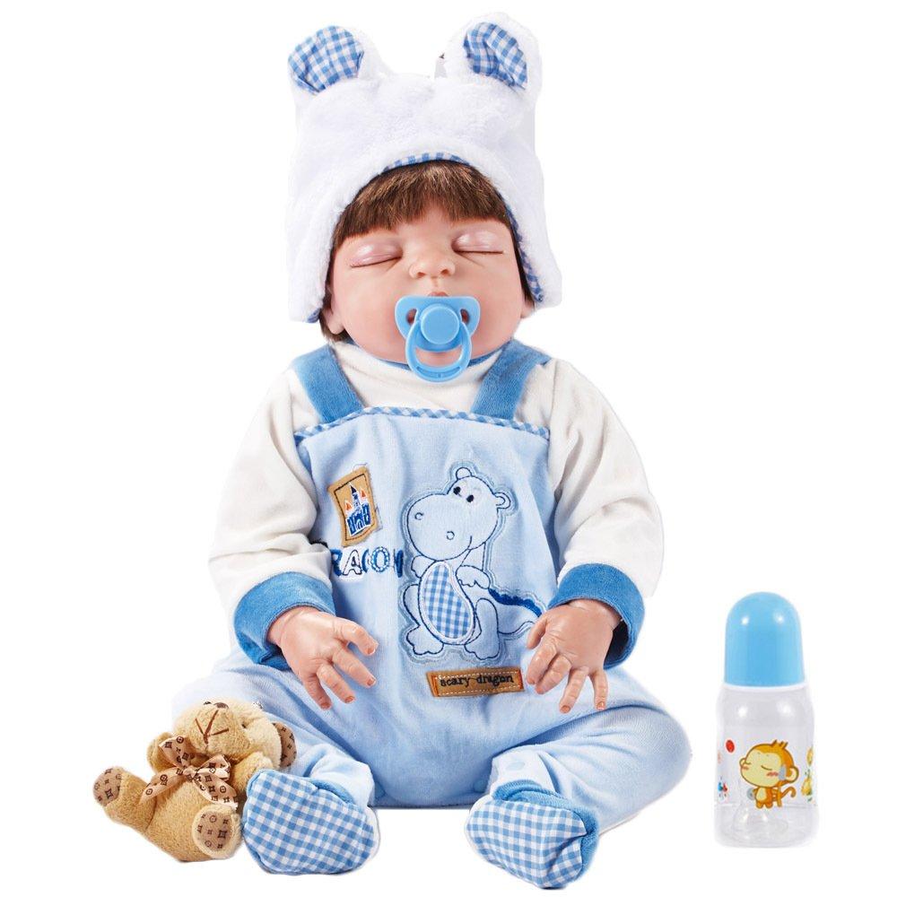 tienda en linea Promoción por tiempo limitado YIHANGG Reborn Body Silicone Vinyl Doll Doll Doll Sleeping Boy Babies 22 Pulgadas Magnetic Mouth Full Alive Baby Real Vinyl Vientre Kids Toy Niños Regalo De Cumpleaños Se Puede Lavar  colores increíbles