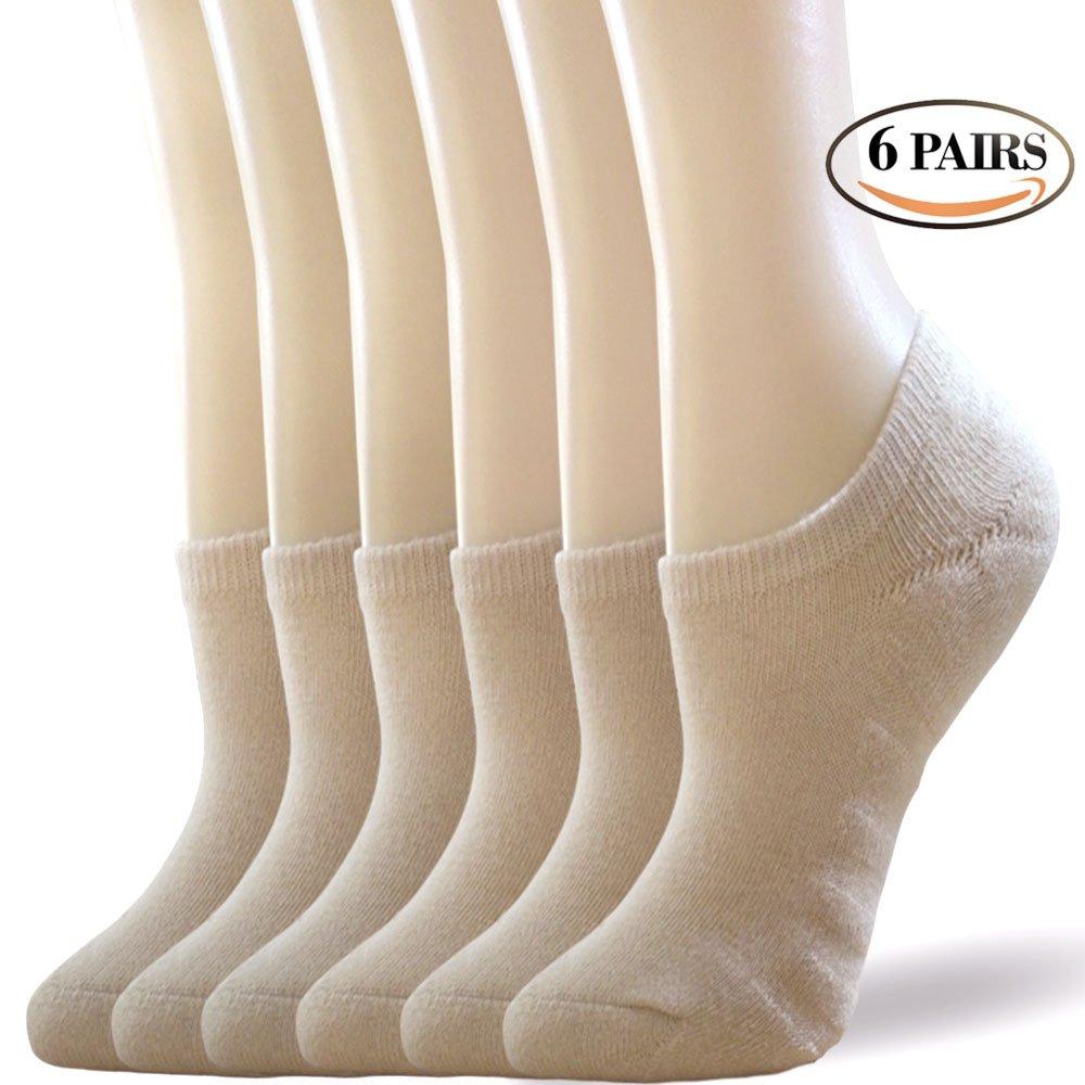 No Show Cushion Athletic Socks Women Men - 3/6 Pack - Low Cut Casual Socks Non Slip Best For Running, Flight Travel (6 Pairs Tan, L/XL (US Women Shoes 8-10 Men Shoes 8.5-10.5))
