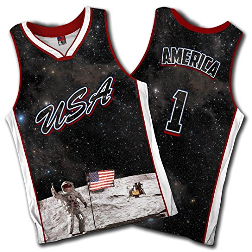 Greater Half Team USA Galaxy Basketball Jersey America Jersey #1 (Small-XXL) Black