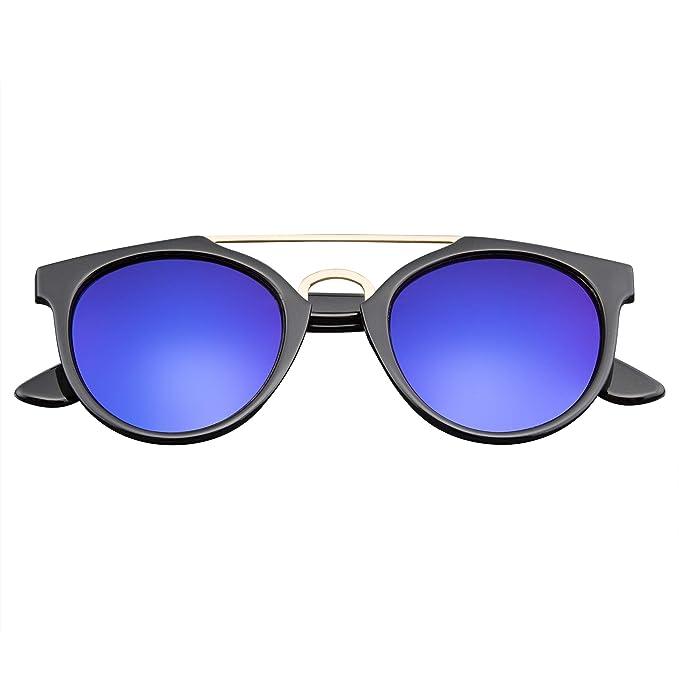 Emblem Eyewear® - Vintage Inspirado En La Barra Transversal Dapper Flash Lente Espejo Gafas De Sol