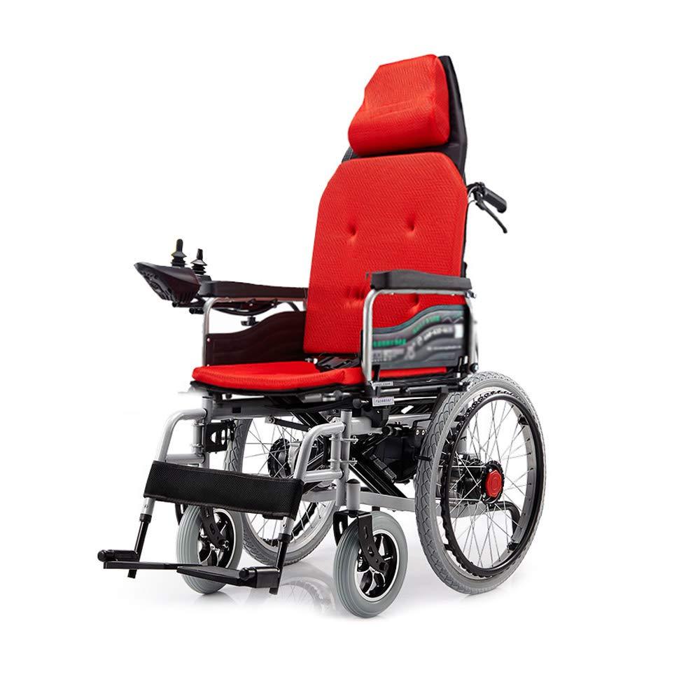 世界的に有名な 電動車いす Red)、折りたたみ式高齢者高齢者四輪車椅子、ヘッドレスト付、荷重100kg、EPBSブレーキシステム (色 簡単な操作 : (色 : Red) Red B07GLBG13D, 時計屋さんロジスティックス:5303fe5a --- a0267596.xsph.ru