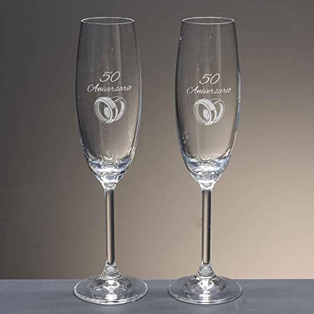 la galaica | - Set de 2 Copas de Cristal de Champán Cava y Espumoso | Regalo