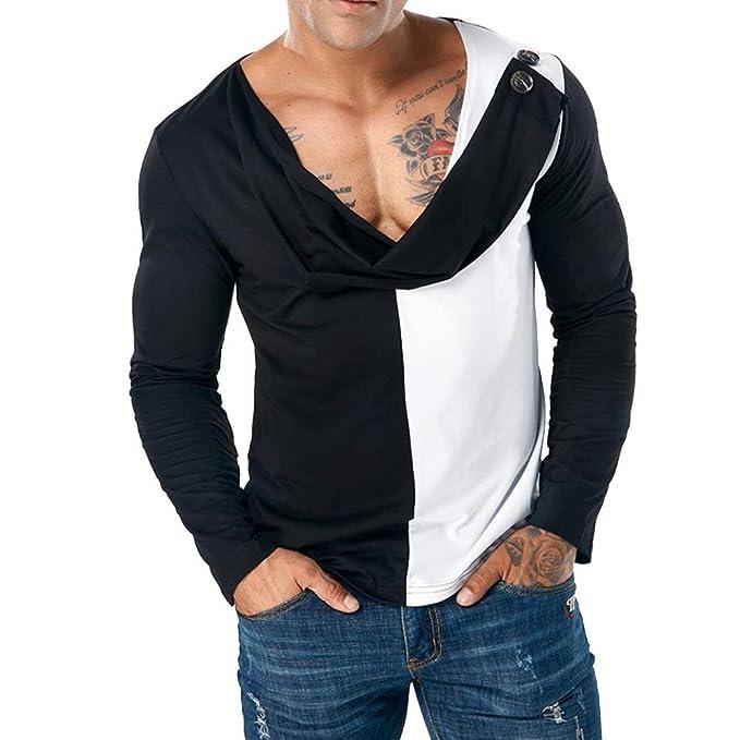 AmazingDays Camisetas Fortnite Hombre Blusa Camiseta De Manga Larga Delgada De Patchwork Casual para Hombre Camiseta