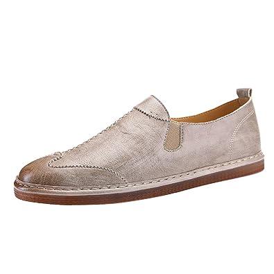 16dbf8162a58f Anguang Chaussures Plates pour Homme Mocassins en PU Cuir Souple Classique  Chaussures Loafers De Conduite Abricot