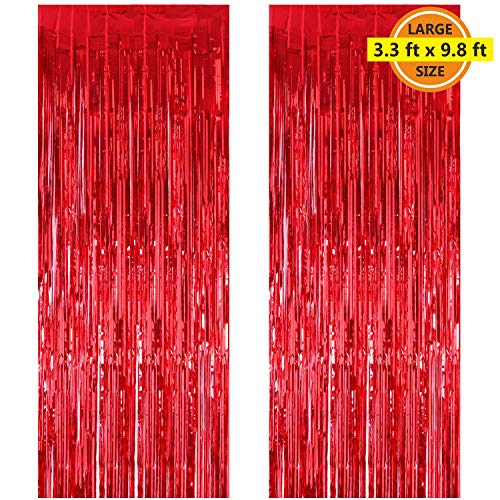 (2 Pack 3.3 ft x 9.8 ft Foil Curtains Metallic Fringe Curtains Shimmer Curtain Photo Backdrop for Halloween Christmas Birthday Party Wedding Deco (Red))