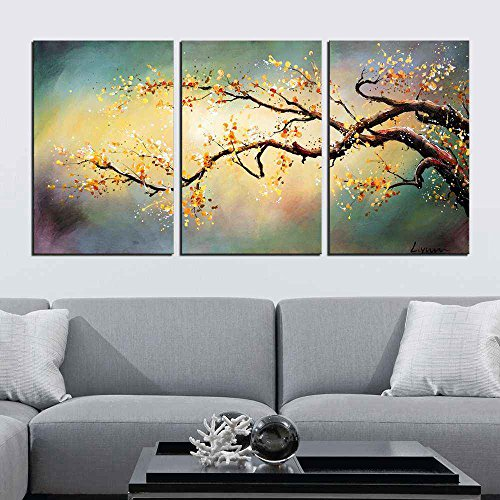 - ARTLAND Modern 100% Hand Painted Flower Oil Painting on Canvas Yellow Plum Blossom 3-Piece Gallery-Wrapped Framed Wall Art Ready to Hang for Living Room for Wall Decor Home Decoration 36x72inches