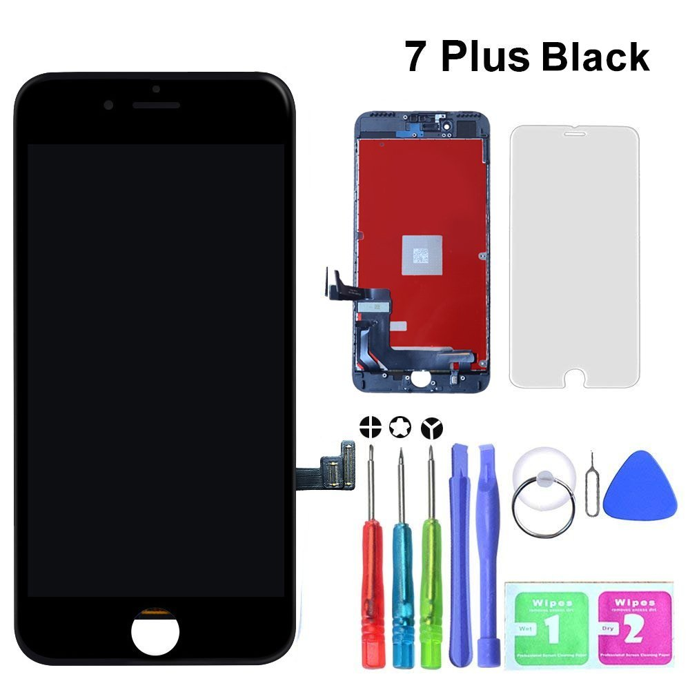 GAVATE39 Compatible for iPhone 7 Plus Black 5.5 inch - LCD Digitizer Touch Screen Replacement