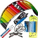 HQ Symphony Pro 2.5 Kite with Stunt Display Tail Bundle (3 Items) + Prism 75ft Tube Tail + WindBone Kiteboarding Lifestyle Stickers (Rainbow)