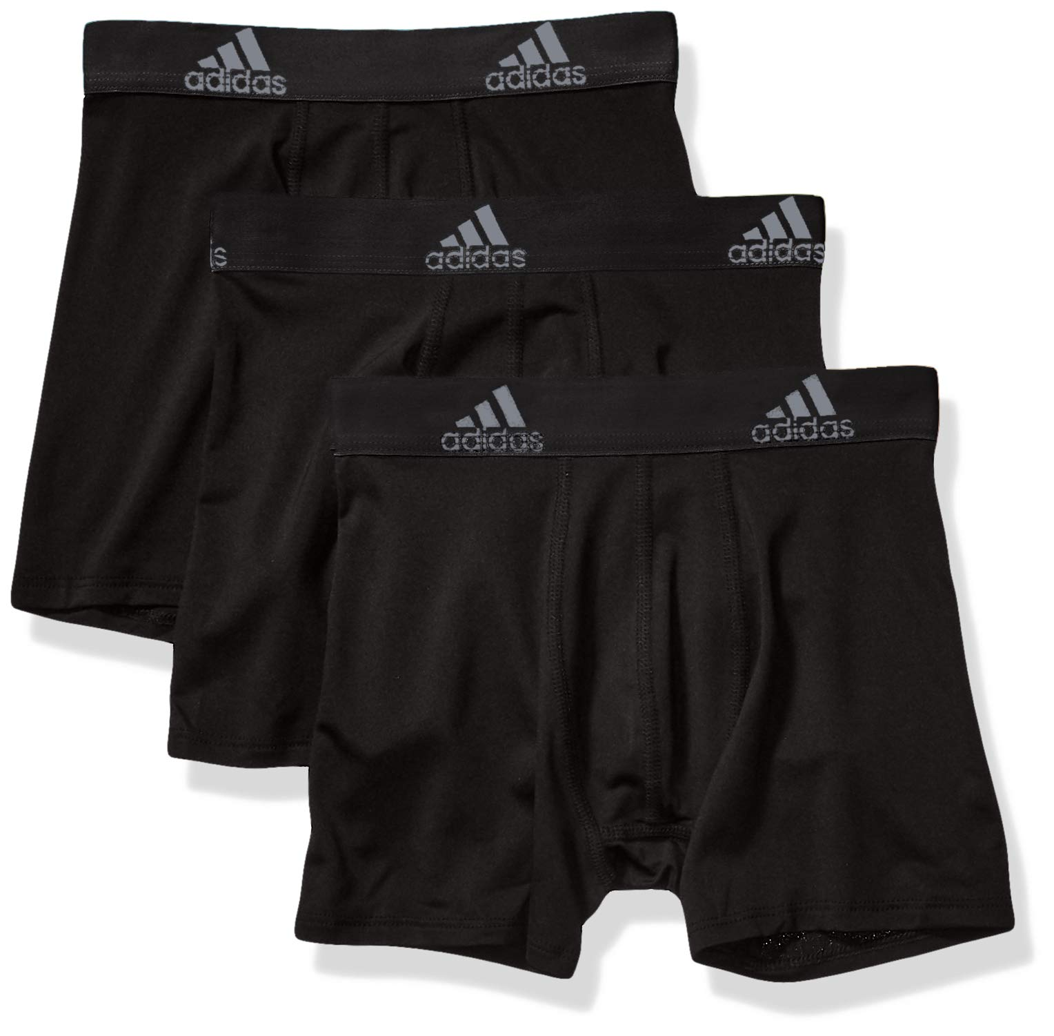 adidas Youth Kids-Boy's Performance Boxer Briefs Underwear (3-Pack), Black Black Black, LARGE by adidas