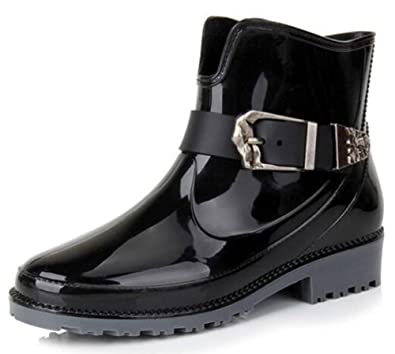 Women's Durable Round Toe Buckle Low Chunky Heels Ankle Rain Boots Short Wellies