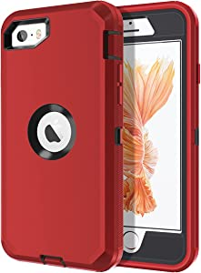 I-HONVA for iPhone SE Case, for iPhone 5S/5 Case Built-in Screen Protector Shockproof Dust/Drop Proof 3 in 1 Full Body Protection Rugged Heavy Duty Cover Case for Apple iPhone SE/5S/5, Red/Black
