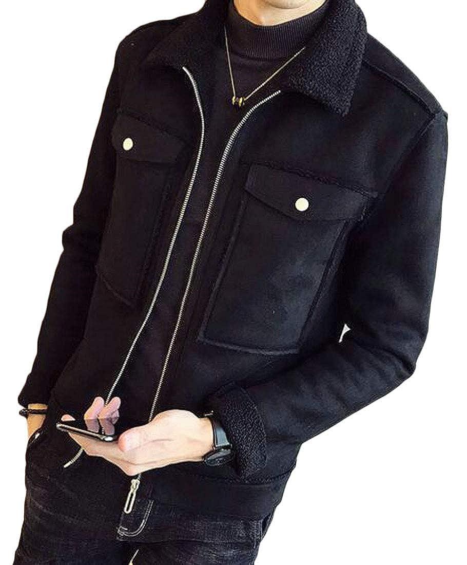 XiaoTianXinMen XTX Mens Zip Up Warm Faux Suede Faux Fur Lined Winter Quilted Jacket Coat Outerwear