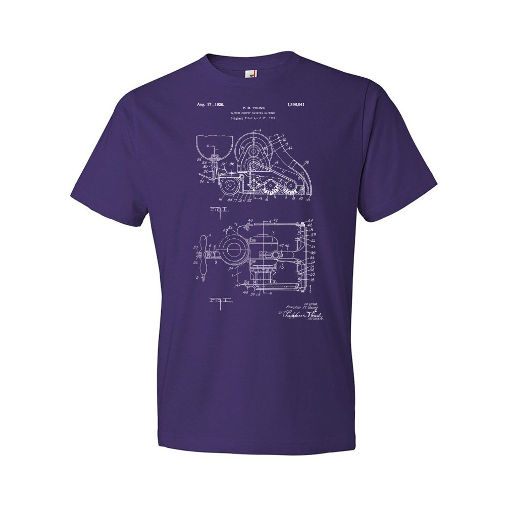 Patent Earth Carpet Washing Vacuum T-Shirt, Cleaning T-Shirt, Vacuum Cleaner, House Work, Home Maker Gift Purple (XL)