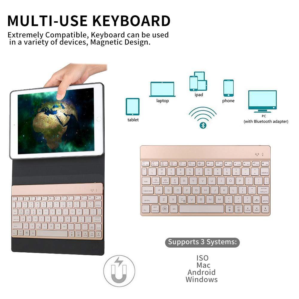 SENGBIRCH Compatible Keyboard Case iPad 9.7 2018 - iPad 9.7 2017 - iPad Air 2&1 - iPad Pro 9.7-7 Colors Backlit Detachable Keyboard - PU Leather Stand - iPad Keyboard Case, (Rose Gold, 9.7)