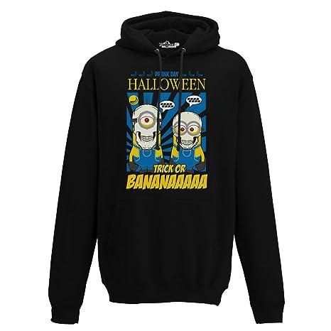 KiarenzaFD Sudadera Capucha Hombre Divertido Creación Moda Halloween Trick Or Banana Streetwear, Jet Black,