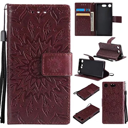 YHUISEN Girasol Impresión Diseño PU cuero Flip Wallet Lanyard funda protectora con ranura para tarjeta de soporte para Sony Xperia XZ1 Compact / G8841 ( Color : Purple ) Brown