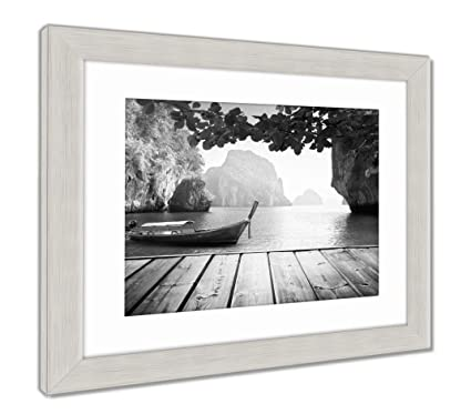 Amazon.com: Ashley Framed Prints Adaman Sea And Wooden Boat In ...