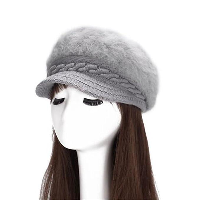 3cc9ab6d3 Lady Braided Warm Cabled Angora Knit Winter Beanie Crochet Beret ...