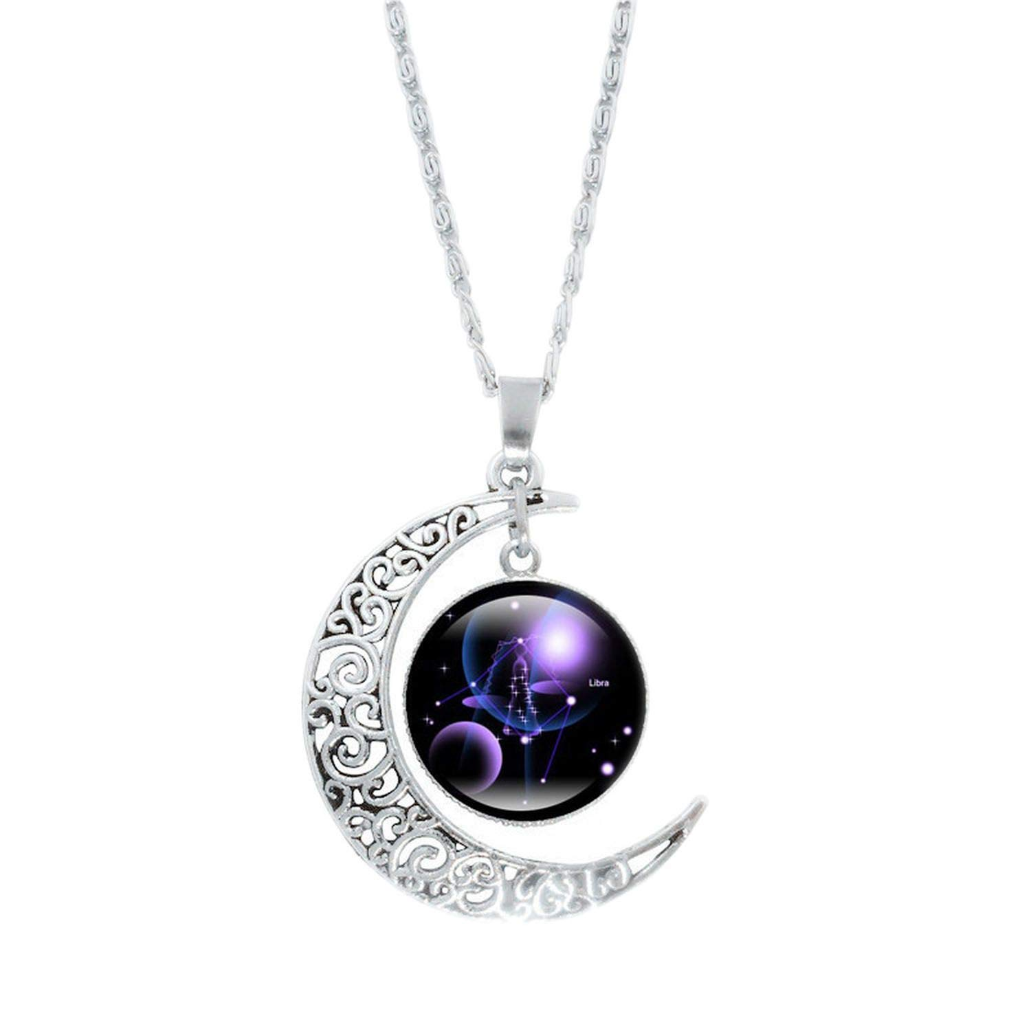 ihuoshang Constellation Glass Cabochon Pendant Necklace Silver Crescent Moon Jewelry Chain Necklace Women Girl