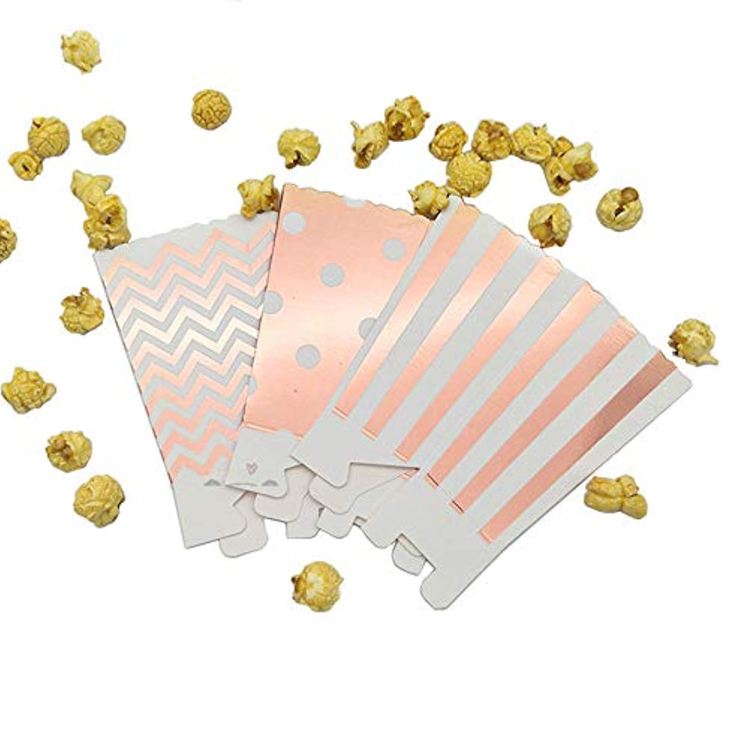 Mini Poprcorn Boxes 100 Pack Rose Gold Paper Popcorn Snack Containers Treat Box for Wedding Party Bridal Shower Birthday Movies by BALANSOHO (Image #6)