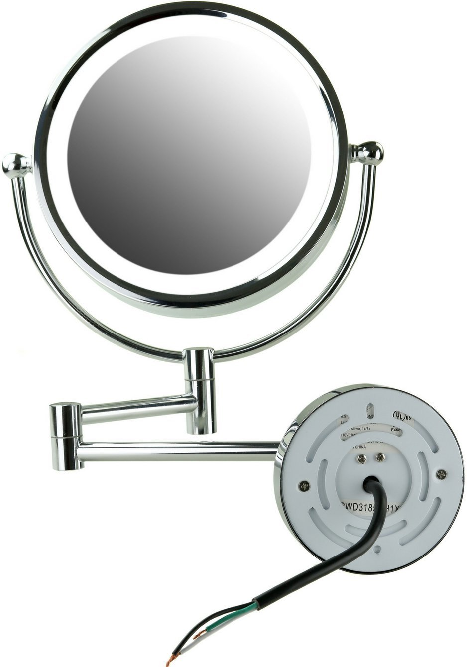Ovente Lighted Wall Mount Mirror, 8.5 Inch, Dual-Sided 1x/7x Magnification, Hardwired Electrical Connection, Natural White LED Lights, 9-Watts, Polished Chrome (MPWD3185CH1X7X) by Ovente (Image #3)