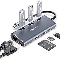 VEMONT USB C Hub Adaptador multipuerto, 8 en 1 Tipo C a 4K @30HZ HDMI, Gigabit Ethernet RJ45,3 USB 3.0,100W PD, SD/TF…
