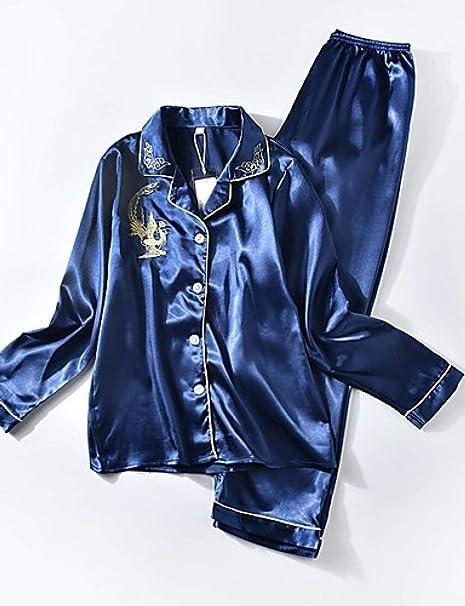 Home + pajamas Camisa De Seda para Mujer Cuello Trajes De Satén Y Seda Pijamas - Estampado Bordado: Amazon.es: Deportes y aire libre