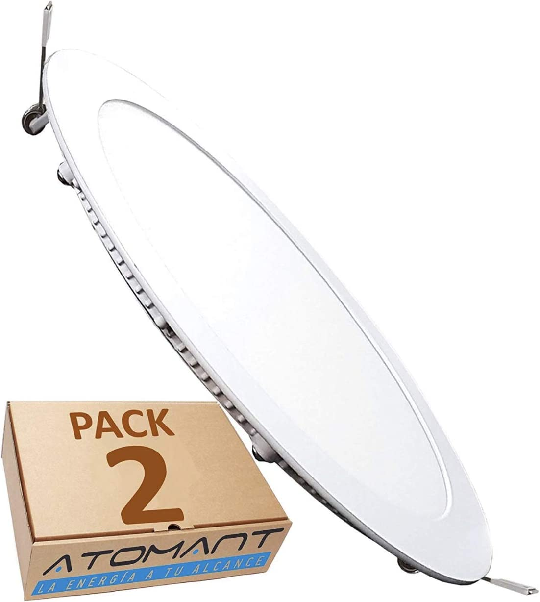 LED ATOMANT, S.L. Pack 2x Downlight LED Panel Extraplano Redondo, Iluminación 18W, 18 W, Blanco Frio 6500K, 225 mm