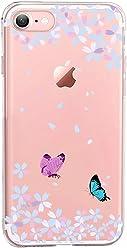 Girlscases®   iPhone 8/7 Hülle   Im Schmetterling Blumen Motiv Muster   in rosa pink   Fashion Case transparente Schutzhülle aus Silikon