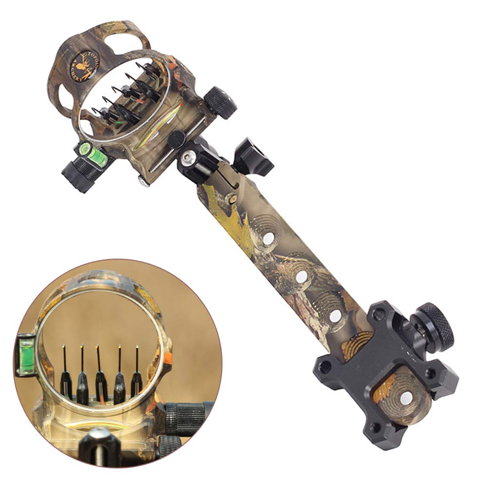 ZSHJG Archery Bow Sight 5 Pin 0.019 Optical Fiber Retinal Sight CNC Aluminum Horizontal Vertical Adjustment for Compound Bow Sight Accessory (Long Camo) by ZSHJG