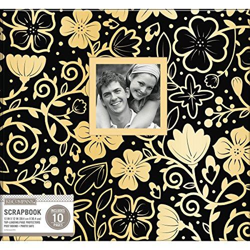 3 K&Co Scrapbook 12x12 Window Black Gold Foil Floral Scrapbook 12x12 Blackgoldflrl ()