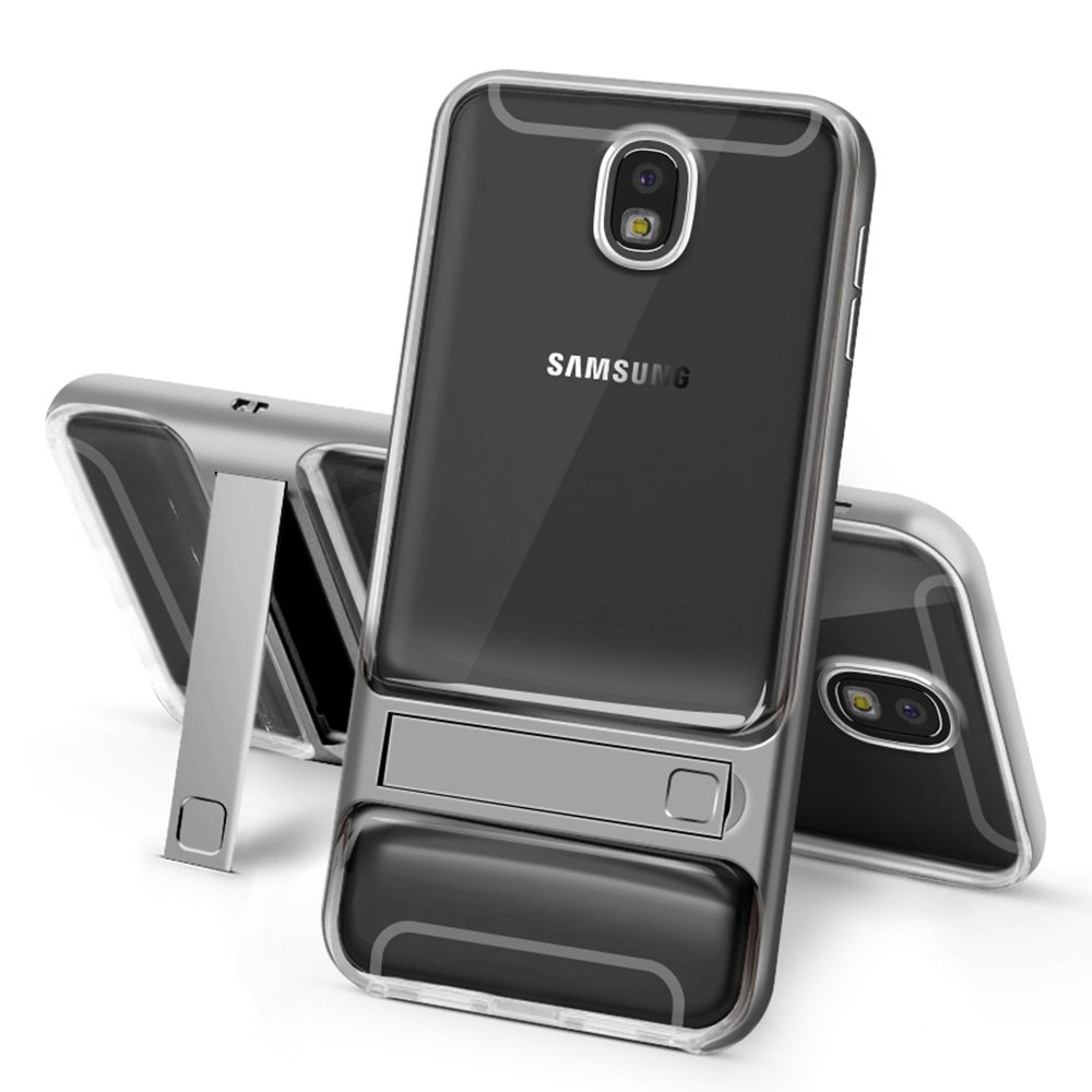 Galaxy J7 Pro Case, CHIHENG Dual Layer Hybrid Slim Crystal Clear Soft TPU +PC Bumper Frame With Kickstand Shock-absorption Protection Cover Case for Samsung Galaxy J7 Pro 5.5' (Transparent Grey) CA-296886