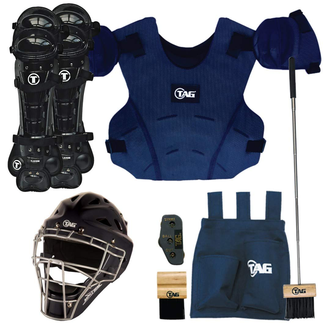 TAG Deluxe Umpire Gear Kit with Body Protector, Leg Guards, Brush, Bag, Helmet (Small/Medium) by TAG