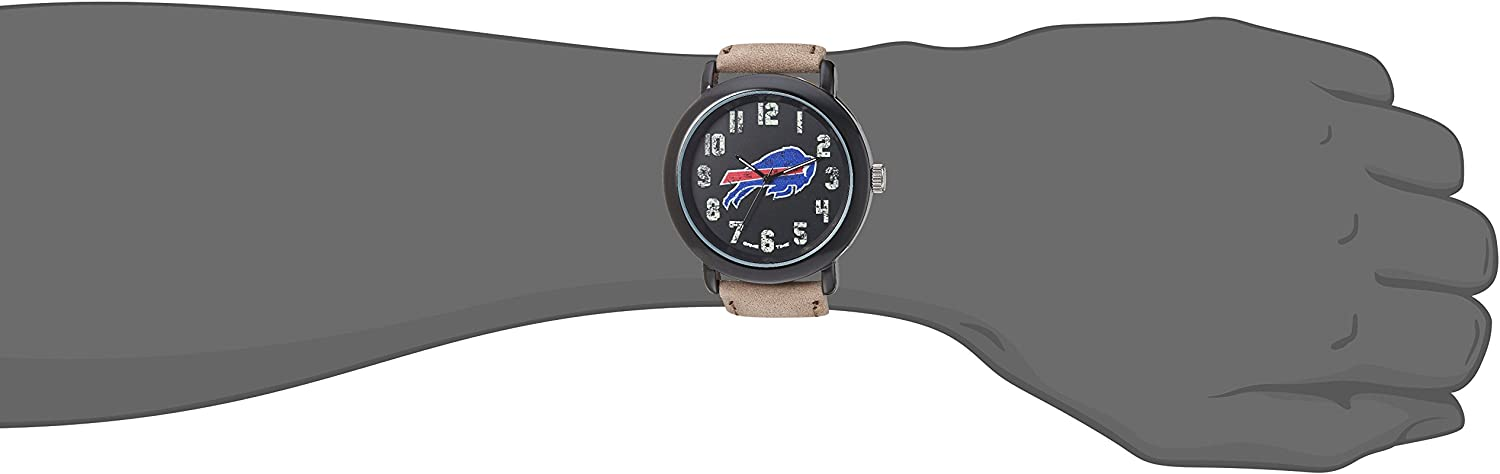 B01LBEASQO Game Time Men\'s \'Throwback\' Quartz Metal and Leather Casual Watch, Color:Beige (Model: NFL-TBK-BUF) 91rvlpyfqBL