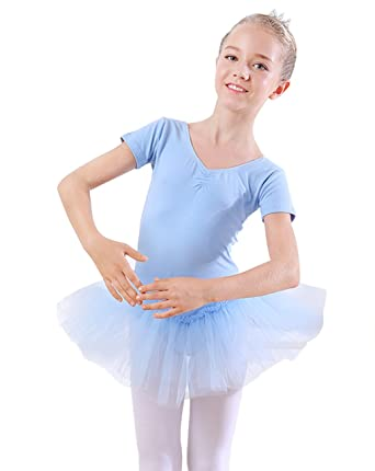 b87573a39 Amazon.com  PINKDAA Girls Ballet Dress Short Sleeve Leotard Crew ...