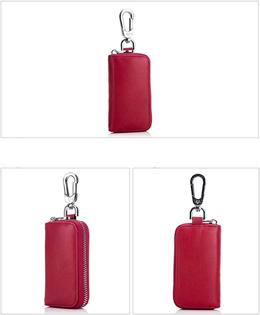 PEOTOUVY Fashion Car Keychain Leather Zipper Car Key Case Holder for Men and Women
