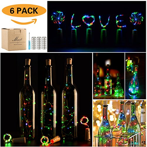 Wine Bottle Lights with Cork,LED Cork Lights for Bottle ,Copper Wire Bottle Lights for DIY, Party, Decor, Christmas, Halloween,Wedding (6Pack, 3 Colors)