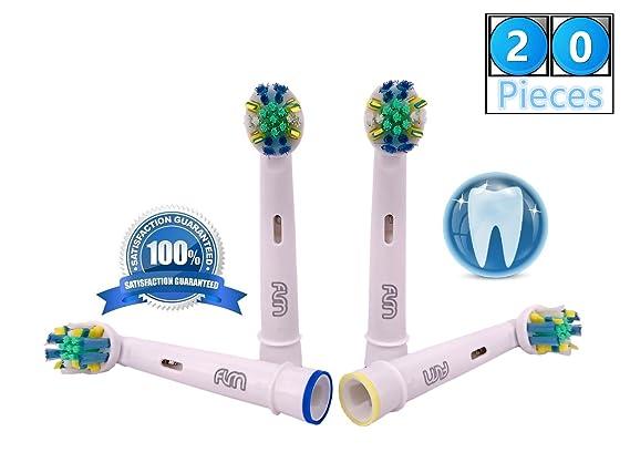 FLM FlossAction EB25A - Cabezal de recambio para cepillo de dientes eléctrico compatibles con Braun Oral B, 20 unidades: Amazon.es: Salud y cuidado personal