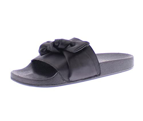 d9c99c9b589 Gold Toe Women s Satina Black Satin Bow Top Knot Open Toe Flat Pool Slides  Sandals
